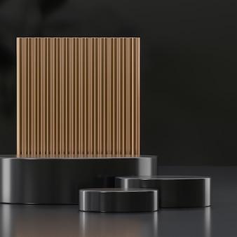 Supporto da palco moderno nero e oro per il posizionamento del prodotto 3d rendering