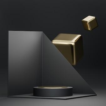 Il palco del podio nero e oro su sfondo geometrico astratto 3d rende