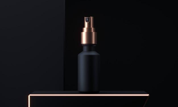 Bottiglia dello spruzzo dell'oro e del nero, contenitore in bianco con foschia di spruzzatura nella rappresentazione 3d