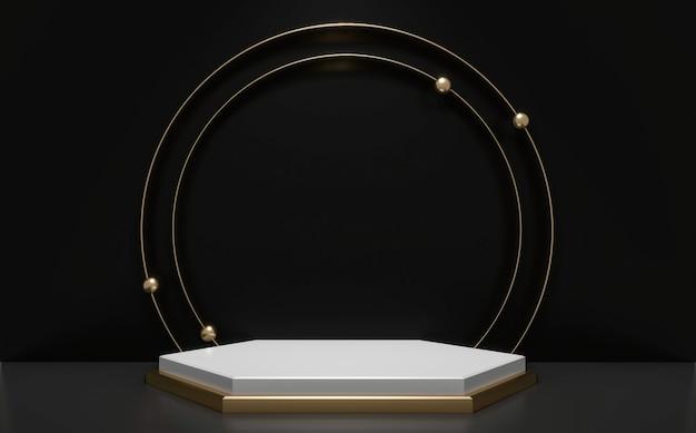 Rendering 3d podio di lusso nero e dorato
