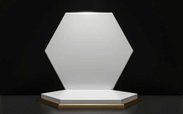Il podio nero e dorato minimal geometrico, astratto in stile scuro. rendering 3d