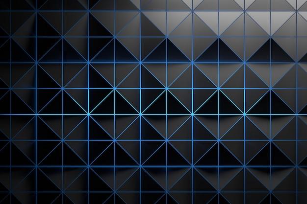 Modello grigio nero con triangoli e luce blu brillante