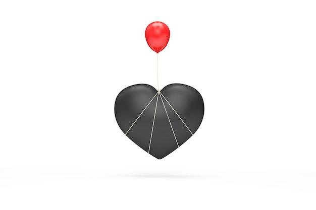 Simbolo del cuore nero con palloncino rosso su sfondo bianco