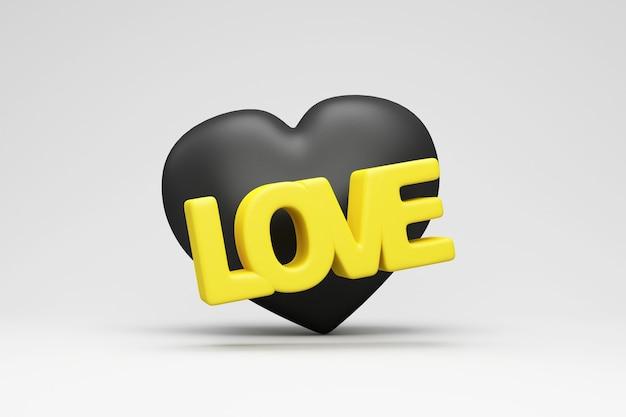 Cuore nero con testo di amore giallo su sfondo grigio studio