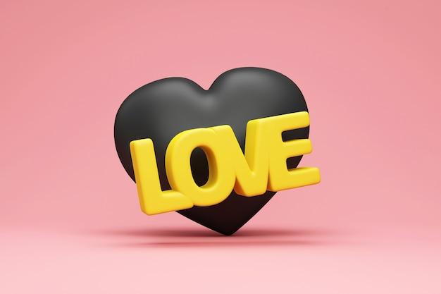 Cuore nero con testo giallo amore su sfondo studio