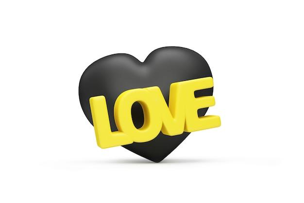 Cuore nero con testo di amore giallo su sfondo bianco