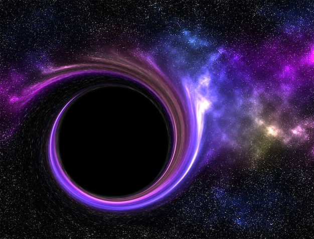 Buco nero nella galassia con nebulosa.