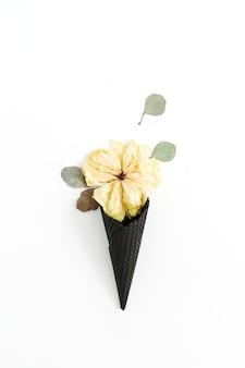 Cono di cialda gelato nero con bocciolo di peonia secca e foglia di eucalipto isolato su bianco