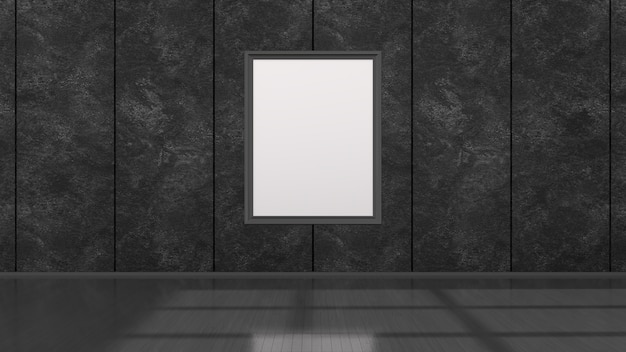 Interno nero con cornici nere per mockup, illustrazione 3d