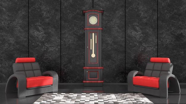Interno nero con poltrona nera e rossa e orologio per mockup, illustrazione 3d