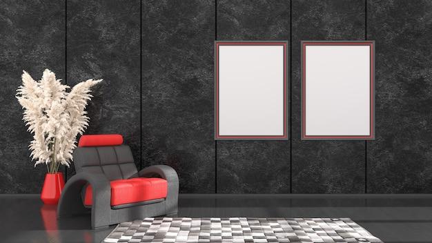 Interno nero con cornici nere e rosse e una poltrona per mockup, illustrazione 3d