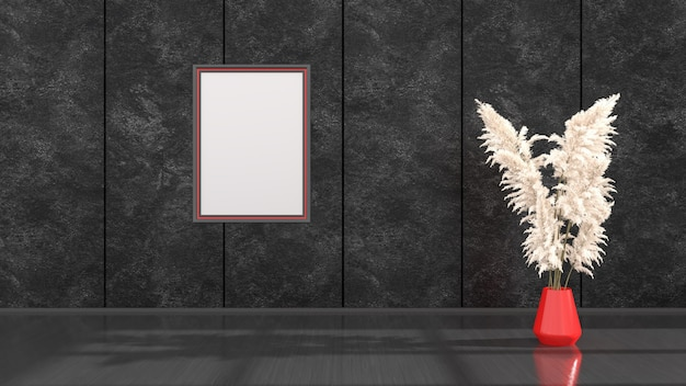 Interno nero con cornici nere e rosse per mockup, illustrazione 3d