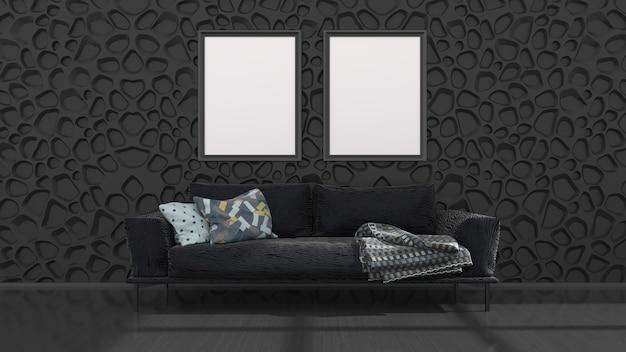 Interno nero con divano nero e cornici per mockup, illustrazione 3d