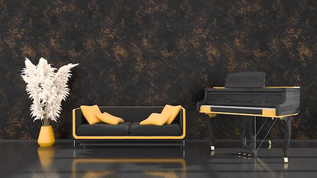 Interno nero con un pianoforte a coda nero e giallo e un divano, illustrazione 3d