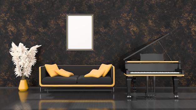 Interno nero con pianoforte a coda nero e giallo, divano e telaio per mockup, illustrazione 3d