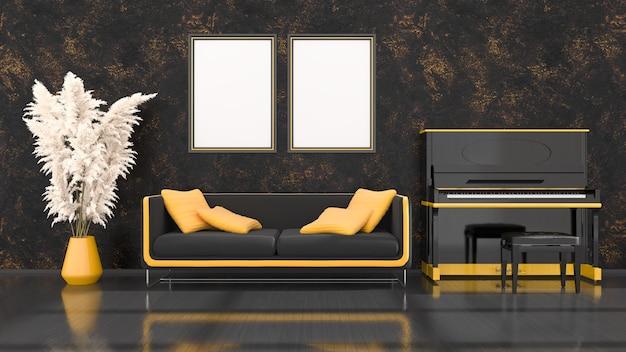 Interno nero con pianoforte nero e giallo, divano e telaio per mockup, illustrazione 3d
