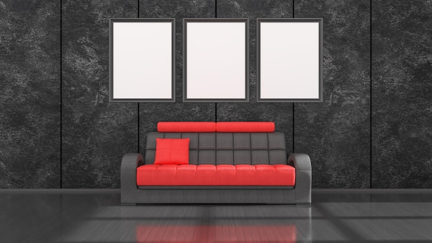 Interno nero con divano moderno nero e rosso e cornici per mockup, illustrazione 3d