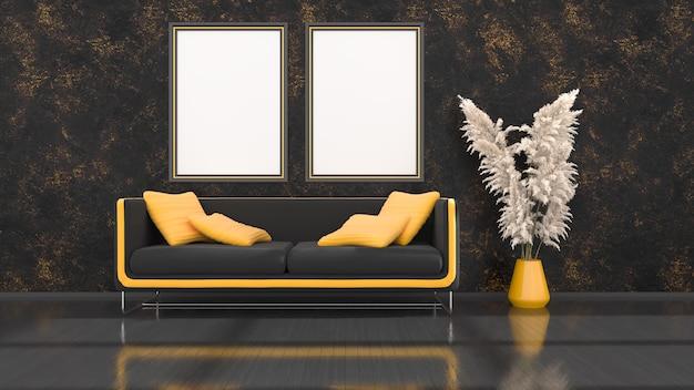 Interno nero con divano moderno nero e giallo e cornici per mockup, illustrazione 3d