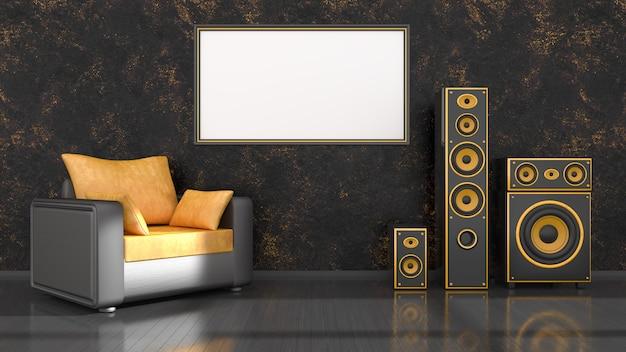 Interni neri con poltrona dal design moderno nero e giallo, sistema di altoparlanti e telaio, illustrazione 3d