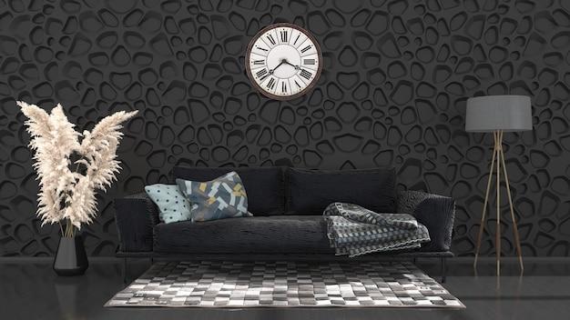 Interno nero con divano e orologio da parete, illustrazione 3d