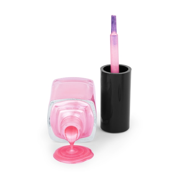 Vaso nero con vernice rosa. pennello con smalto rosa