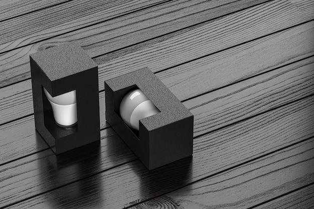 Lampada in cartone kraft nero modello bubl box mockup