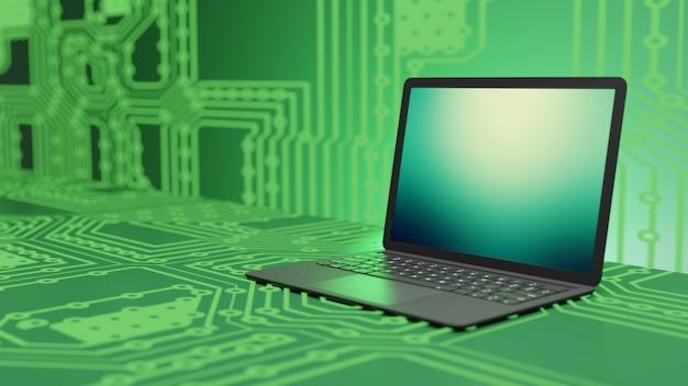 Computer portatile nero con schermo verde sul fondo della sfocatura del circuito elettronico. immagine illustrazione 3d