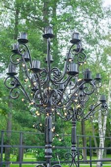 Portacandele grande nero, decorazione per eventi