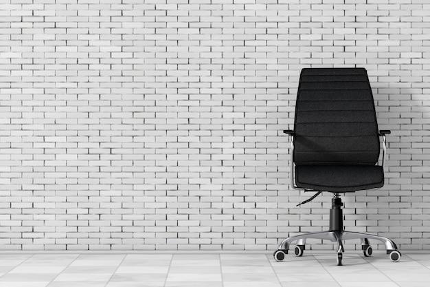 Sedia da ufficio boss in pelle nera davanti al muro di mattoni. rendering 3d.