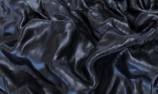 Pelle nera con effetto onda. texture di rendering 3d