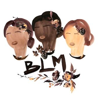 Black lives matter illustrazione dell'acquerello