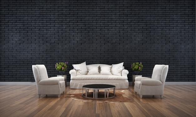 Il design degli interni del soggiorno nero e lo sfondo della trama del muro di mattoni