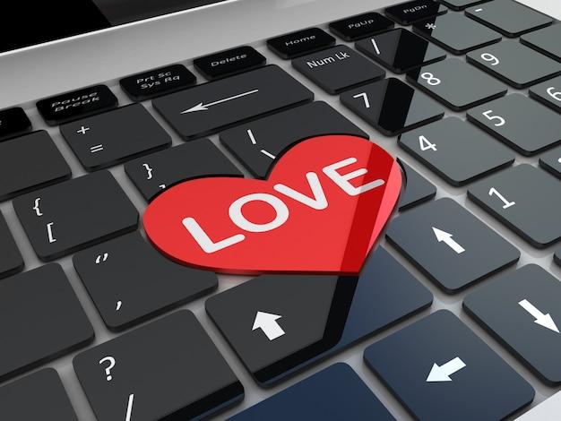 Tastiera nera dell'amore