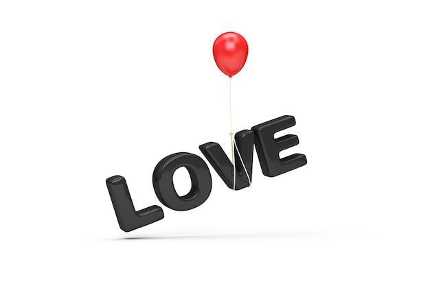 Simbolo di testo di amore nero con palloncino rosso su sfondo bianco