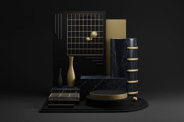 Mockup geometrico in marmo nero con decorazioni dorate