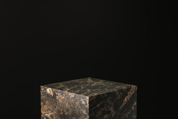 Esposizione del prodotto in marmo nero. podio vuoto del piedistallo per mostrare. rendering 3d.