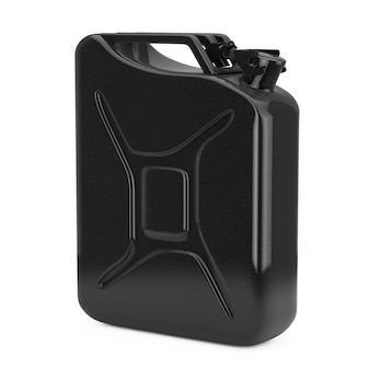 Tanica in metallo nero con spazio libero per il tuo design su sfondo bianco. rendering 3d