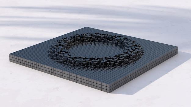 Superficie ondulata metallica nera. illustrazione astratta, rendering 3d.