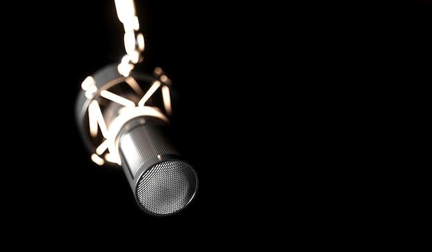 Microfono nero su uno sfondo nero di close-up, 3d'illustrazione