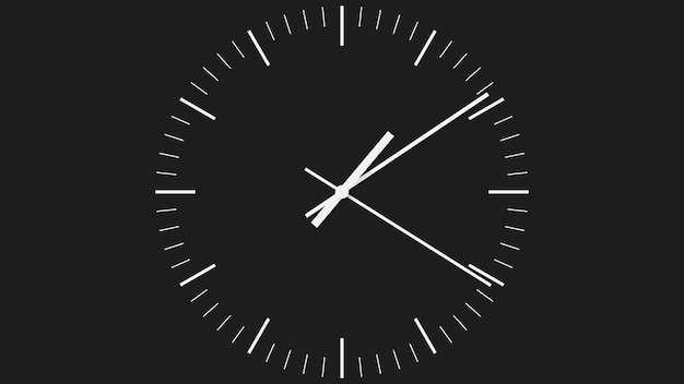 Quadrante dell'orologio minimalista nero con lancette bianche