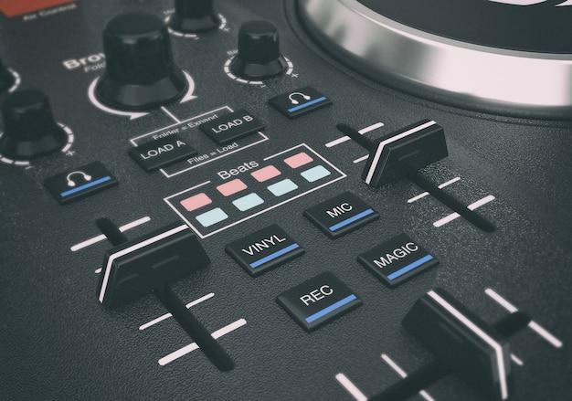 Nero moderno dj set giradischi mixer attrezzature primo piano estremo. rendering 3d