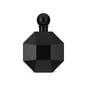 Bottiglia di profumo moderna nera a forma di diamante su sfondo bianco. rendering 3d
