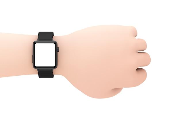 Mockup di orologio intelligente moderno nero e cinturino con schermo vuoto per il tuo design primo piano sul polso della mano del fumetto su uno sfondo bianco. rendering 3d