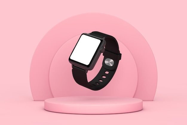 Mockup di orologio intelligente moderno nero e cinturino con schermo vuoto per il tuo design su piedistallo di scena di prodotti cilindri rosa su uno sfondo rosa. rendering 3d