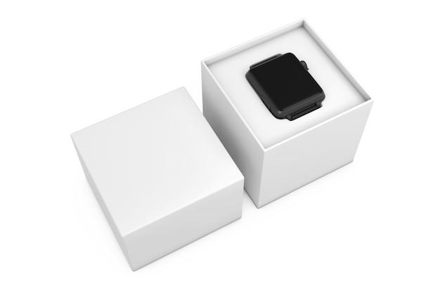 Mockup di orologio intelligente moderno nero e cinturino con confezione regalo bianca su sfondo bianco. rendering 3d