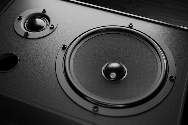 Primo piano nero della colonna di musica. altoparlanti per altoparlanti musicali. rendering 3d.