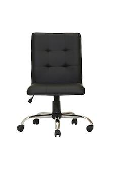 Poltrona da ufficio in pelle nera su ruote isolata su sfondo bianco. vista frontale Foto Premium