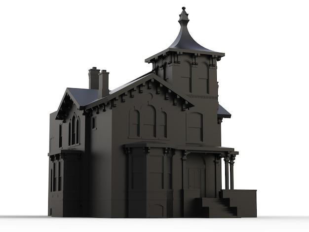 Vecchia casa nera in stile vittoriano. illustrazione su sfondo bianco. specie da lati diversi. rendering 3d.