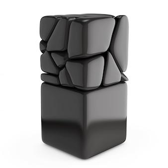 Black pabbles stack come cubo su sfondo bianco. rendering 3d