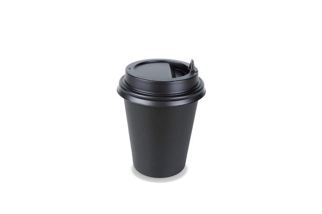 Bicchiere da asporto usa e getta in carta nera. isolato su sfondo bianco
